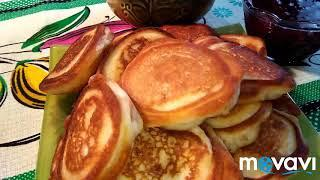 Оладьи на рисовой муке с яблочной начинкой. pancakes on rice flour with app #вкусняшки #оладьи #блин