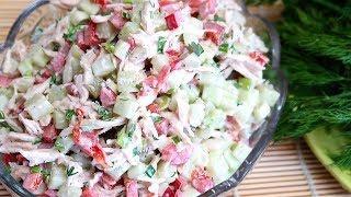 Салат с отварной курицей и свежими овощами