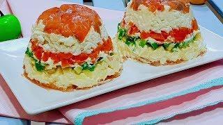 Слоёный рыбный салат для Праздничного стола. Рецепты праздничных салатов.