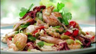 САЛАТ С КАЛЬМАРАМИ И КРЕВЕТКАМИ Салаты из морепродуктов Легкие салаты Простые рецепты