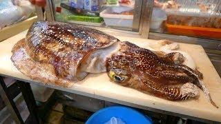 Япония Морепродукты - Огромная Каракатица, Японская Уличная Еда