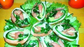 Бутерброды с красной рыбой на Новый год,Рождество и не только...Украшение праздничного блюда