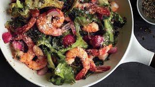 Теплый салат из морепродуктов - видео рецепт