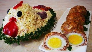 Салат ПЕТУШОК и МЯСНЫЕ зразы с яйцом Блюда на праздничный стол Салат с крабовыми палочками