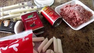 корейская кухня токпоки в соусе Болонез, Spicy rice cake In Bolognaise sauce, (Ddeokbokki: 떡볶이)