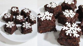 Новогоднее шоколадное пирожное ❊ С сахарными снежинками | Новогодний торт