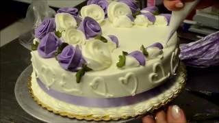 Украшение тортов | Украшение торта на день рождение розами из крема