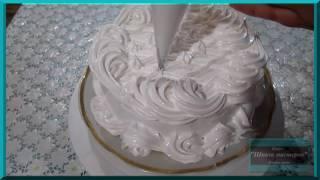 """Очень простое украшение торта кремом """"мокрое безе"""". Как украсить торт в домашних условиях"""