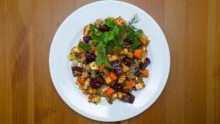 Зимний салат из печеных овощей