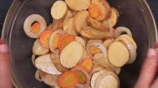 Диетическая говядина с овощами в фольге | Запеченное мясо с овощами