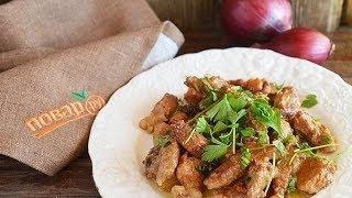 Чо-коги погым - вкусное блюдо из свинины с грибами и овощами