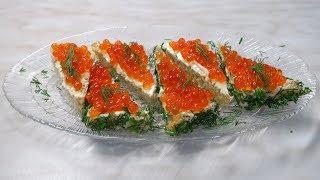 Бутерброды с КРАСНОЙ ИКРОЙ - НОВОГОДНИЕ!