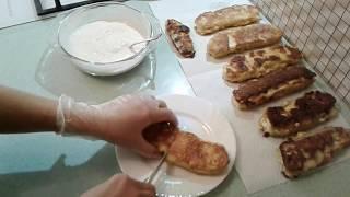 тиквички-болгарская кухня-это кабачки с брынзой и соусом из йогурта-это очень вкусно