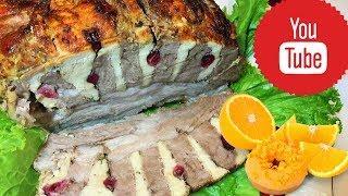 Свинина с куриной грудкой и апельсинами. Новогоднее блюдо.